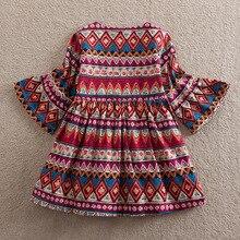 Girls Dresses Boho Featuring Long Sleeves Dress Stripes Princess Fashion Baby A-line  Bell Sleeve