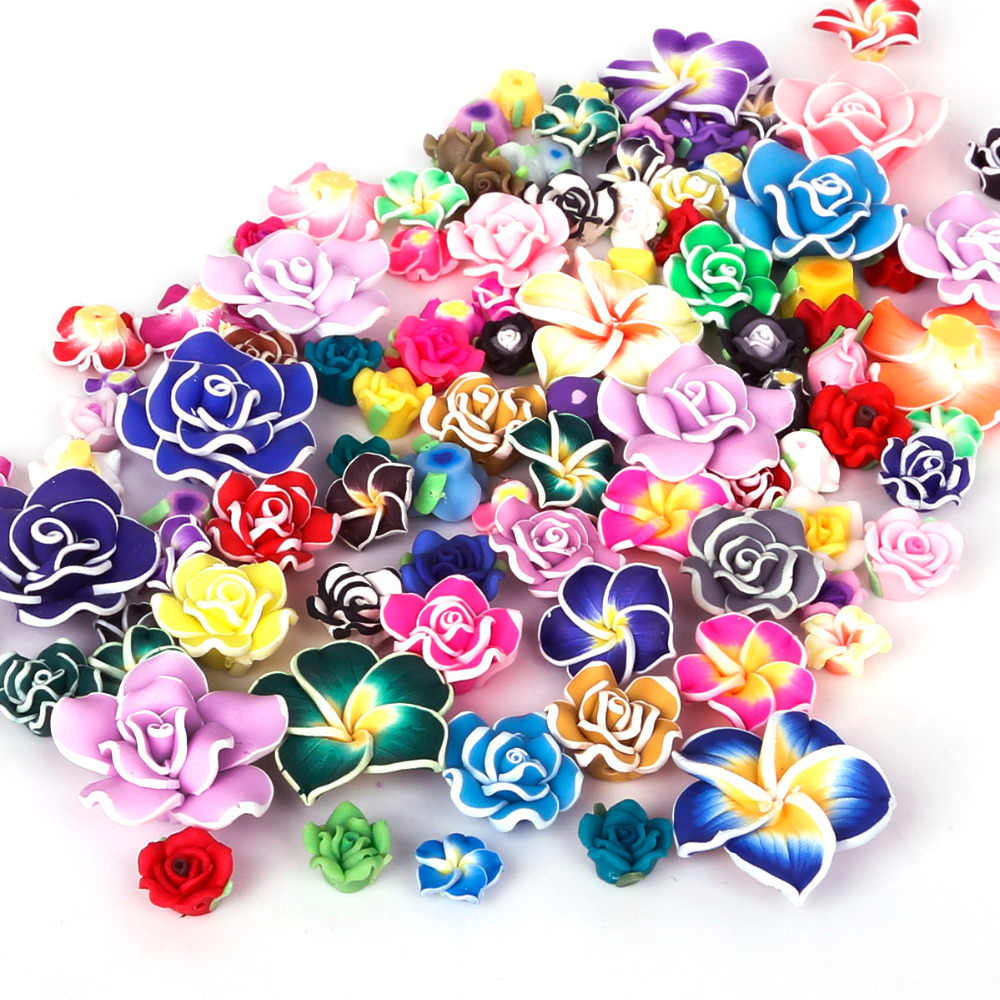 2-10pcs Handmade Soft Fimo Polymer Clay Beads Printing Flower Pattern Rose Loose Beads Random Mixed For Necklace Jewelry Making
