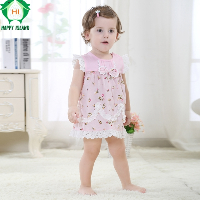 5d9f566a7 HAPPY ISLAND Summer New Baby Girls Dresses Lace+Cotton Material Beautiful  Dress For Little Girl