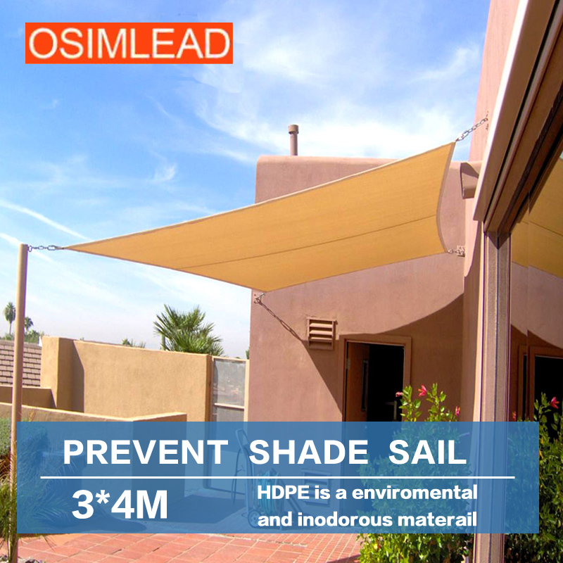 Free shipping OSIMLEAD 3*4 m sun shade sail RECTANGLE CANOPY COVER - OUTDOOR PATIO AWNING - 10' *13' yp100480 alu 100x480cm mountainnet 1m x 4 8m uv rain protection awning polycarbonate outdoor awning patio cover