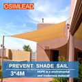 Free shipping OSIMLEAD 3*4 m sun shade sail RECTANGLE CANOPY COVER - OUTDOOR PATIO AWNING - 10' *13'