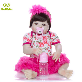 "23"" 57cm reborn baby girl princess doll bebe boneca reborn silicone completa realista menina child gift toy dolls"