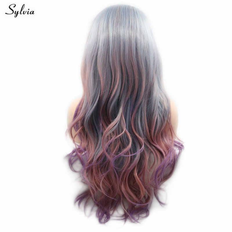 Sylvia Meerjungfrau Perücke Mix Farbe Grau Blau Rosa Lila Pastell Perücke Lange Wellenförmige Haar Synthetische Spitze Front Perücken Für Frauen natürliche Haar