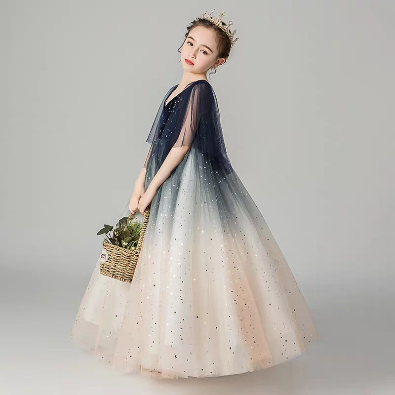 Children Girls Luxury V-Collar Birthday Evening Party Princess Ball Gown Fluffy Dress Kids Model Show Communication Long Dress