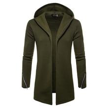 Artı boyutu erkekler rahat Hoodies tişörtü kapşonlu trençkot sonbahar moda uzun slim Fit trençkot erkek palto
