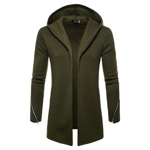 Image 1 - Artı boyutu erkekler rahat Hoodies tişörtü kapşonlu trençkot sonbahar moda uzun slim Fit trençkot erkek palto