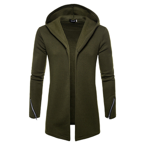 Image 1 - Plus size Men casual Hoodies Sweatshirts  Hooded Trench Coat autumn Fashion Long slim Fit Trench Coat Men Overcoat