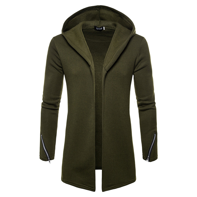 Plus size Men casual Hoodies Sweatshirts  Hooded Trench Coat autumn Fashion Long slim Fit Trench Coat Men Overcoat