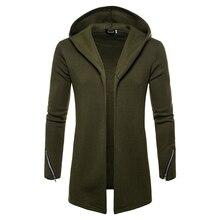 Plus tamanho masculino casual hoodies moletom com capuz trench coat outono moda longo fino ajuste trench coat