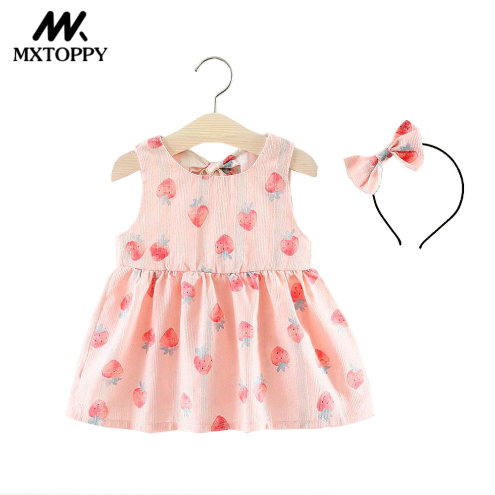 Baby Clothes MXTOPPY Baby Girls Dress New Summer Sleeveless Strawberry Baby Dress Plus Baby Headband