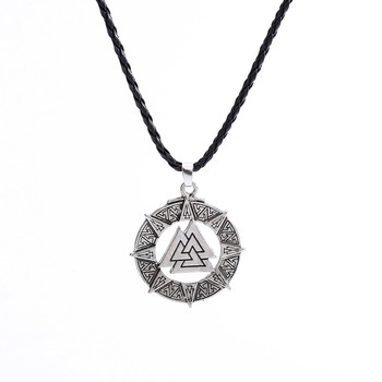 Slavic Norway Valknut Pagoda Amulet Pendant Men Necklace Jewelry Viking Odin Is Symbol Of The Norse Viking Warrior Stylish L0606 image
