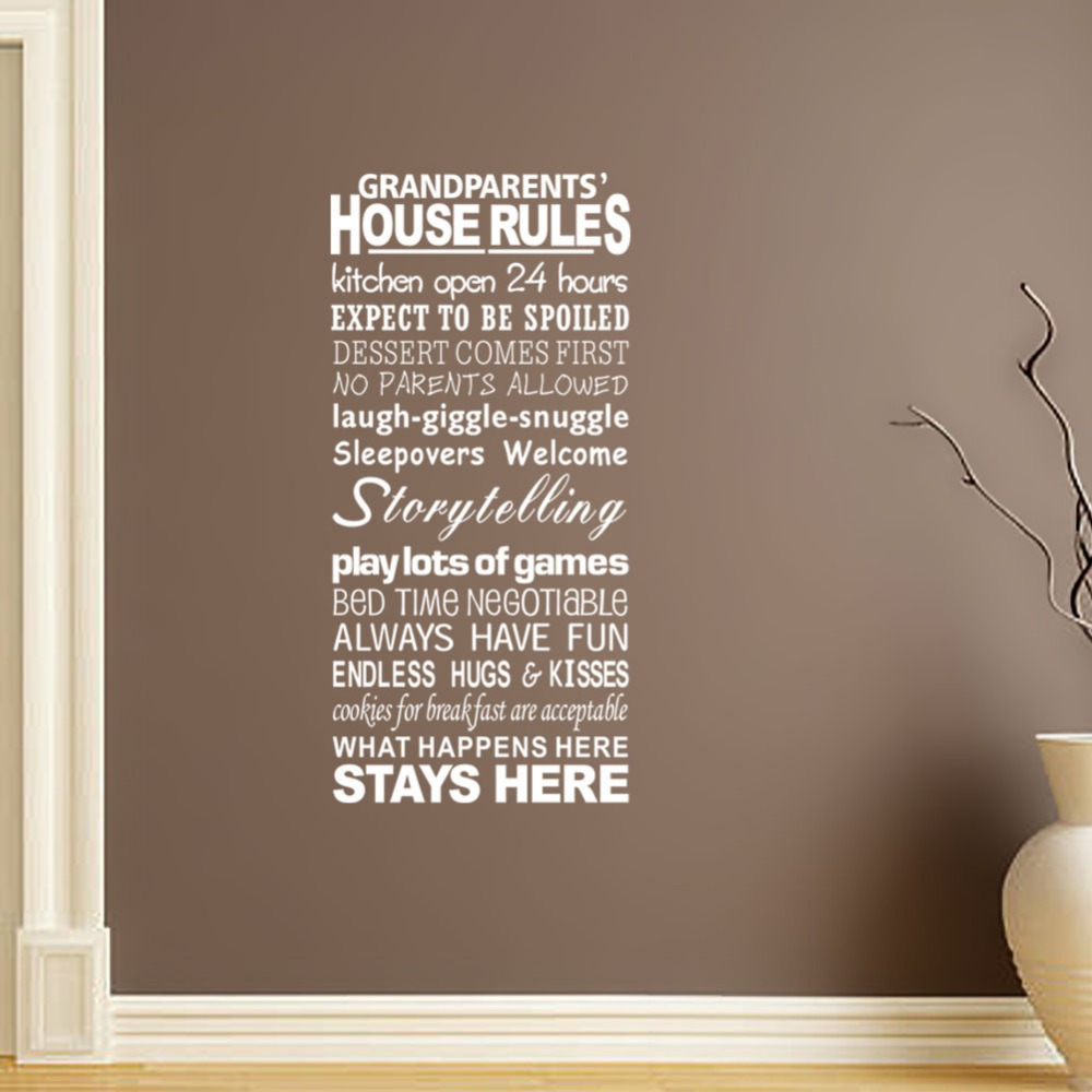 Online Shop DSU Removable Grandparents House Rules Wall Stickers - House rules wall decals