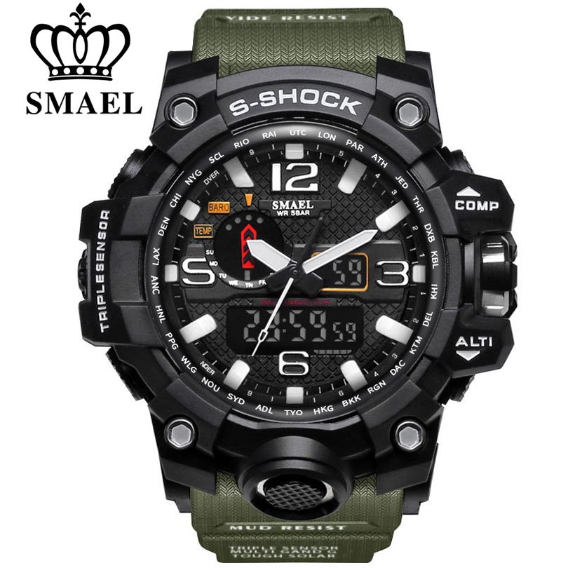 SMAEL Brand Men Sports Watches Dual Display Analog Digital ...