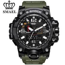 Smael marca hombres deportes relojes dual display analógico digital led electrónico relojes de pulsera de cuarzo resistente al agua natación reloj militar