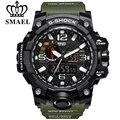 Smael marca men sports relógios dual display analógico digital led eletrônico relógio militar de quartzo relógios de pulso à prova d' água de natação