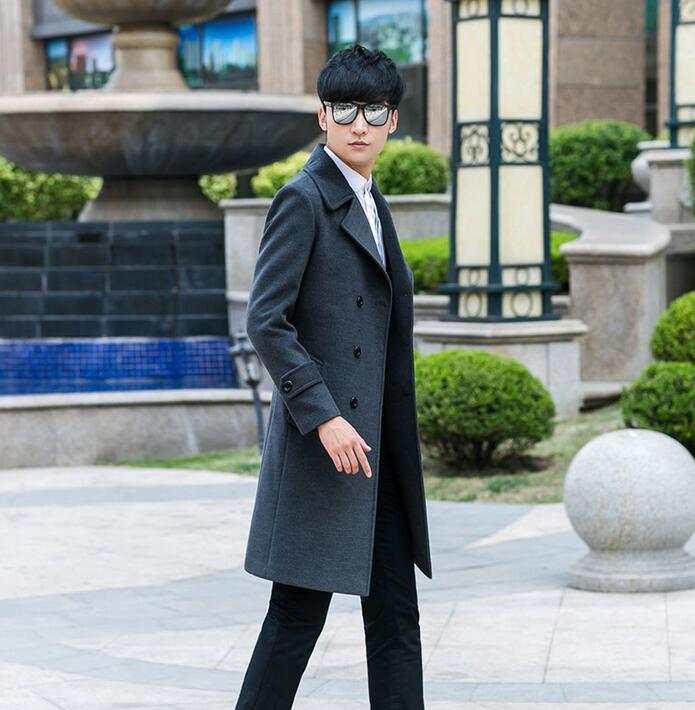 Vêtements pour hommes grande taille long design slim décontracté laine manteau hommes double boutonnage laine manteaux vêtements d'extérieur gris moderne urbain mode