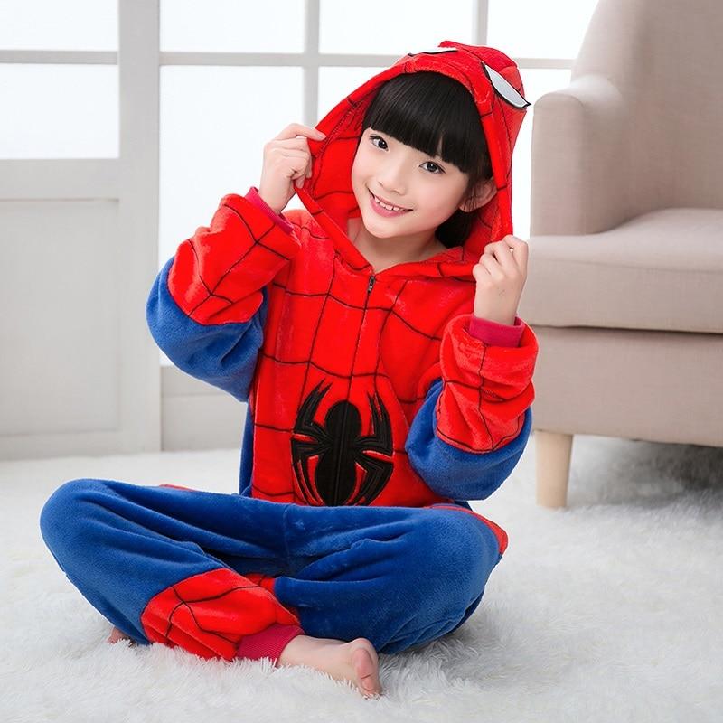 Детские рождественские пижамы, зимняя одежда для сна с капюшоном и рисунком Кигуруми для мальчиков и девочек, пижама с человеком пауком для детей 4, 6, 8, 10, 12 лет