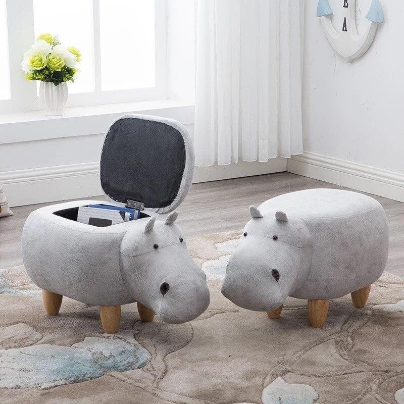 Podnóżek z litego drewna kreatywny hippo projekt buty ławce sofa stołek taboret do przechowywania podnóżek cartoon dla dzieci dla dzieci
