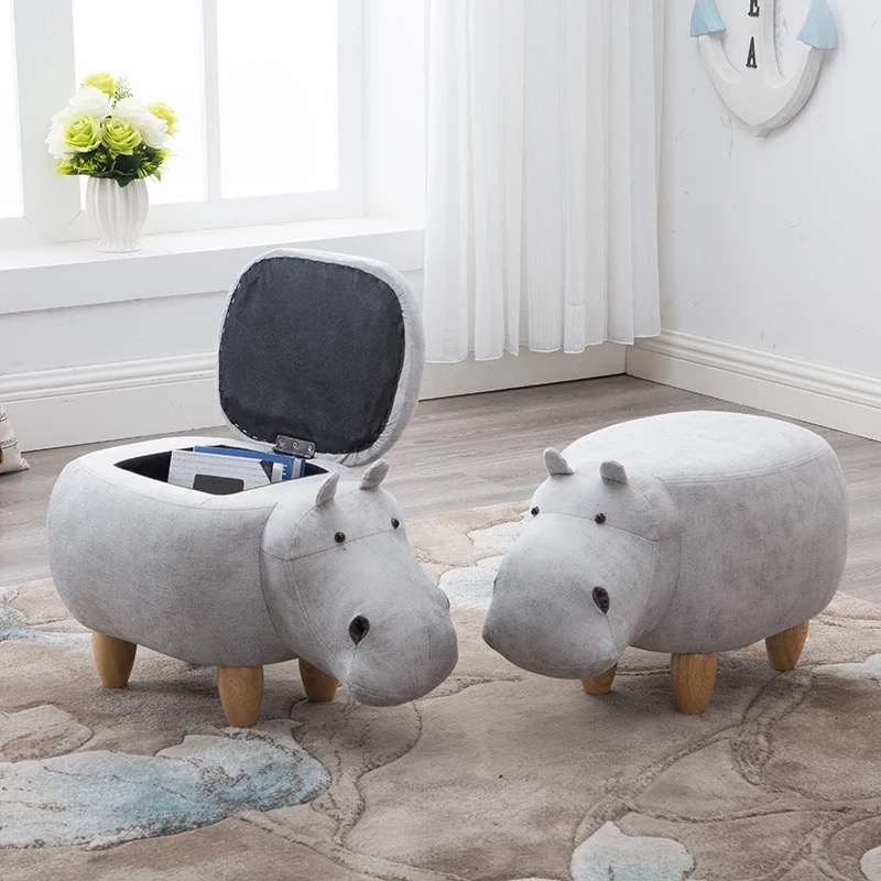 Repose-pieds en bois massif créatif hippo design chaussures banc canapé tabouret tabouret de rangement tabouret dessin animé pour enfants enfants