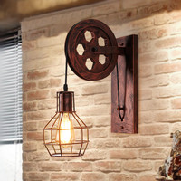 Loft Black Iron Wheel E27 Metal Wall Lamp American Country Bedside Light For Bar Cafe Home Lightings Applique Murale Luminaire