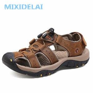 Мужские Пляжные дышащие сандалии MIXIDELAI, черные повседневные сандалии из натуральной кожи, обувь размера плюс 38-47, лето 2019