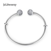 Authentic 925 Sterling Silver Moments Sparkling Open Bangle Pave Clear CZ Crystal Bracelets Bangles For DIY