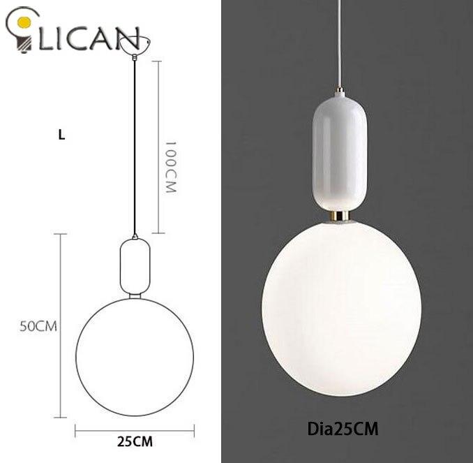 LICAN креативный скандинавский Parachilna ablls светодиодный подвесной светильник, металлическая пластина из молочного матового стекла, Подвесная лампа для столовой - Цвет корпуса: Dia25CM