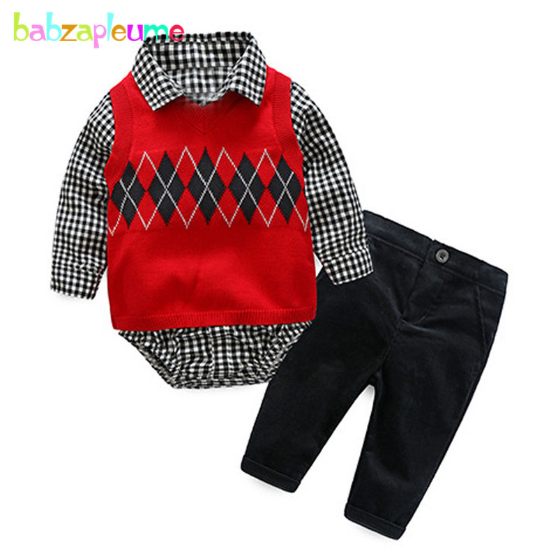 3PCS/3-18Months/Spring Autumn Baby Outfits Infant Boy Clothes Gentleman Suit Knit Vest+Rompers+Pants Newborn Clothing Set BC1269 2018 spring newborn baby boy clothes gentleman baby boy long sleeved plaid shirt vest pants boy outfits shirt pants set
