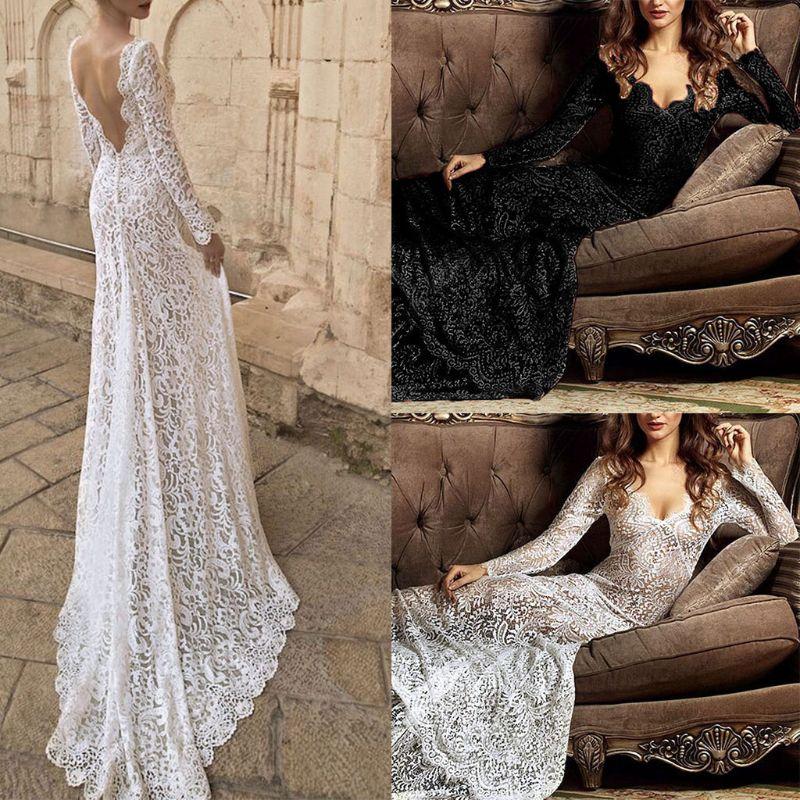 Женское сексуальное Прозрачное цветочное с v-образным вырезом кружевное полиэфирное Макси длинное платье с открытой спиной длиной до пола ...