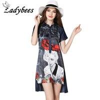 LADYBEES New Summer Denim Dresses Women Plus Size Loose Casual Silk Shirt Ladies Rose Print Patchwork