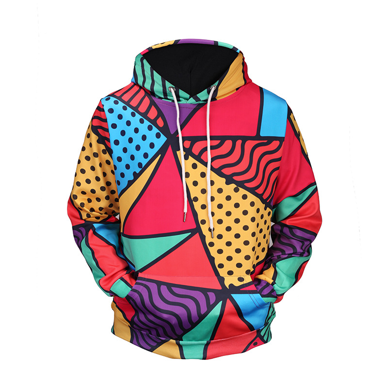 New Fashion Men/Women 3d Hoodies Hoody Print Triangle Colorful Blocks Thin 3d Sweatshirts Hooded Hoodies