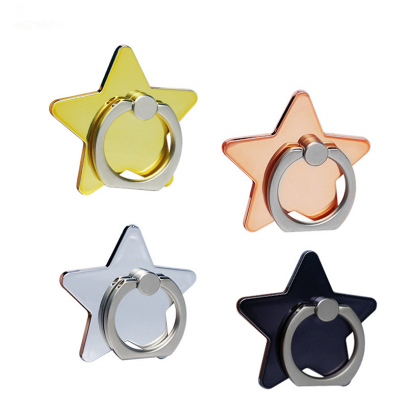 360 Degree Metal Five-pointed star Cross Design Finger Ring Mobile Phone Holder Stand Ho ...