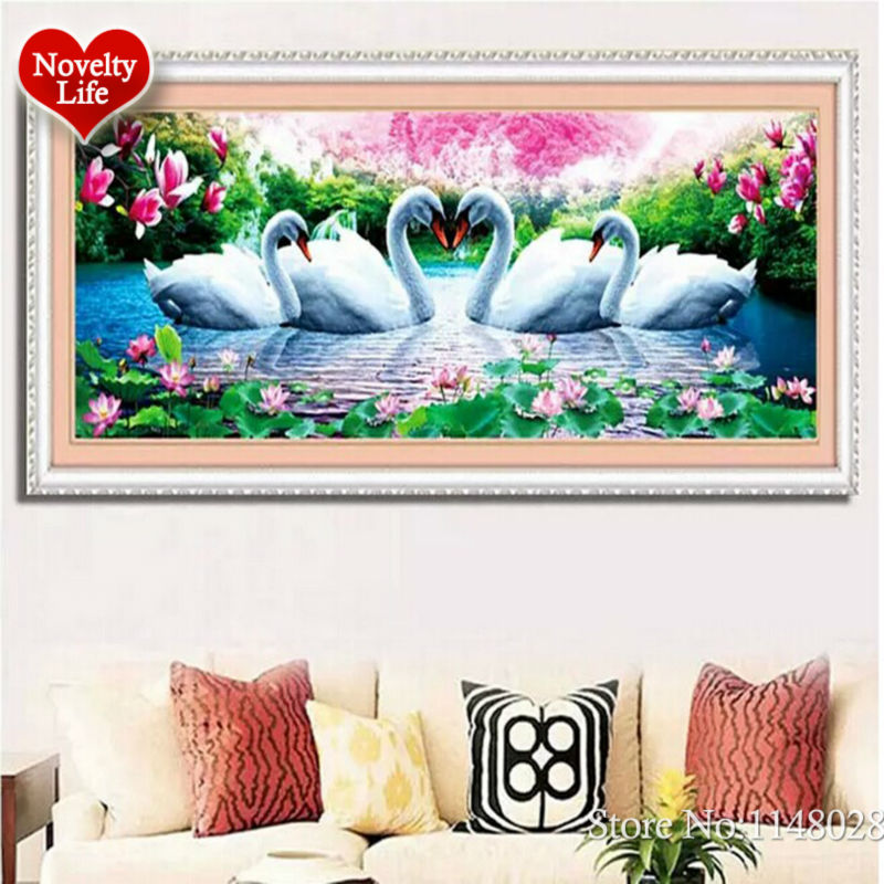 Image 3 - 5D 3D Diy Diamond Embroidery Crystal Painting Flowers Swans Love Magnolia Picture With Colored Rhinestones Wedding Decoration-in Diamond Painting Cross Stitch from Home & Garden on AliExpress