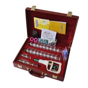 Image 1 - Cinese di trasporto cupping KangZhu Deluxe Vacuum Terapia Set 24 Tazze Custodia In Pelle la terapia coppettazione pacchetto regalo
