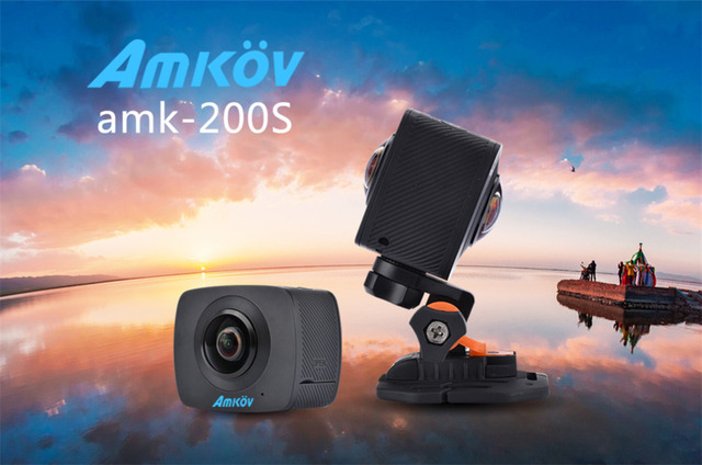 AMKOV AMK200S 360*360 Degree WiFi Sport Camera Dual 200 Degree Fisheye Lens Action Camera All View Virtual Reality Camera