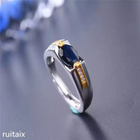 KJJEAXCMY fine jewelry 925 Pure silver inlay natural sapphire women's beautiful ring inlay gold plated jewelry