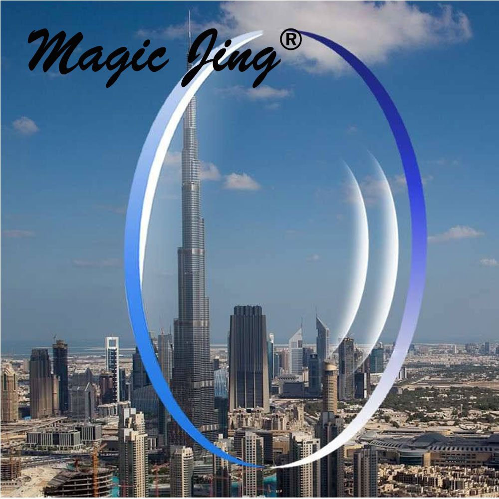 Magic Jing 1.56 1.61 1.67 1.74 δείκτης φακός ενιαίας όρασης με επικάλυψη υπερκάλυψης HC και AR
