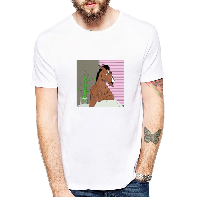 Men's Clothing Bojack Horseman T Shirt Men Fashion Letter Print T-shirts Funny Cartoon O-neck Short Sleeve Tshirt Male Summer Top Camiesetas T-shirts