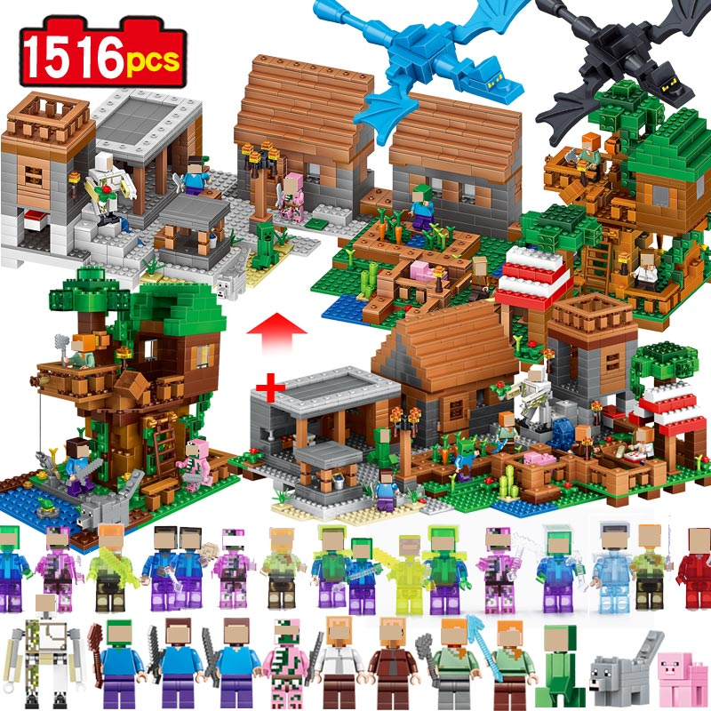 Qunlong 1516pcs Toys Minecrafted Figures 2 in 1 Building Block DIY Bricks Educational Toys For Children Compatible Legoe decool 7108 batman chariot superheroes bat tank building block 506pcs diy educational toys for children compatible legoe