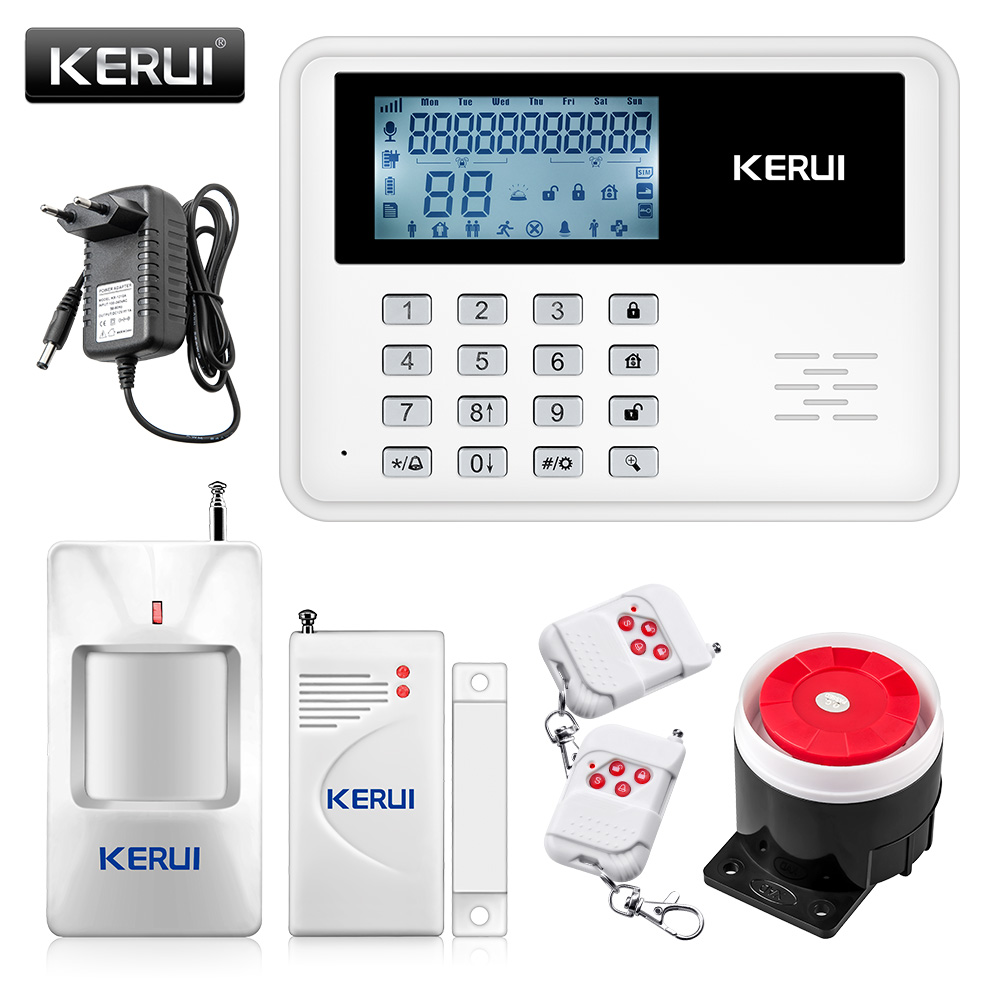 KERUI 5900G Voice Prompt GSM Alarm Systems LCD Display Wireless Door Sensor Home Security Wired Siren Kit SIM SMS Burglar Alarm gsm alarm systems kit remote control voice prompt wireless door sensor lcd display siren kit security alarm for home office