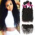 Ear to Ear Lace Frontal Closure with Bundles Malaysian Curly Hair With Closure 3 Bundles Human Hair With 13x4 Full Lace Frontal