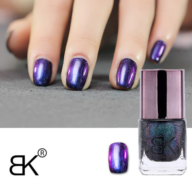 BK Brand Black Starry Sky Holographic Stamping Nail Polish Long ...