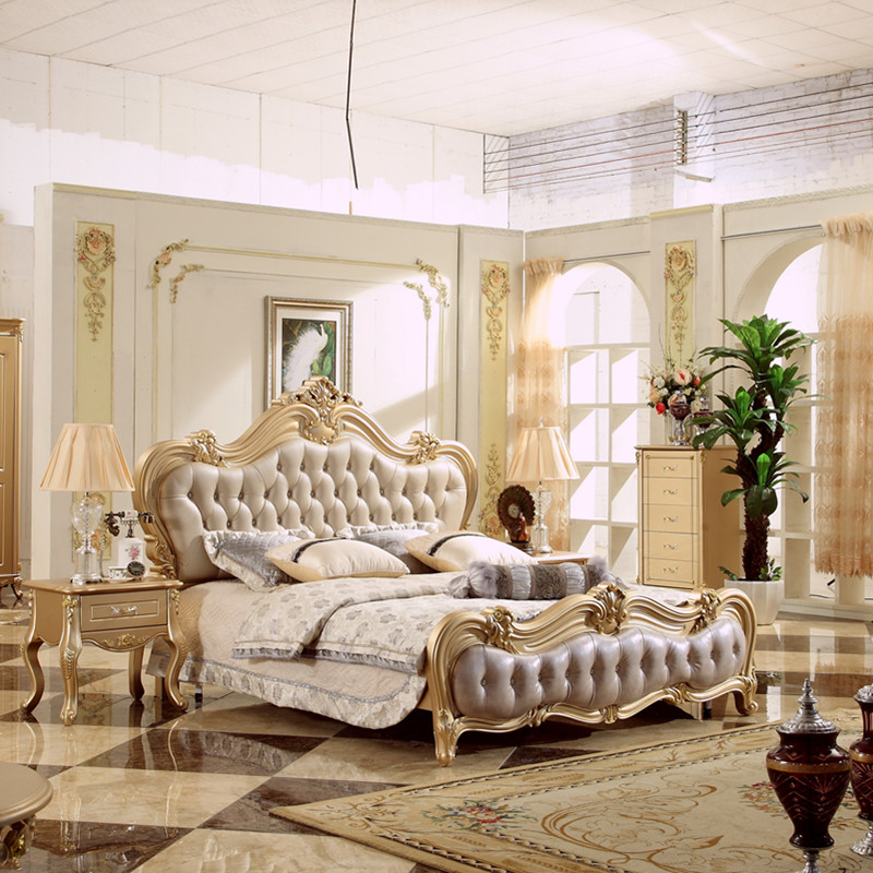 Factory Direct Sale Luxury Style Bedroom Furniture Set Leather Bed