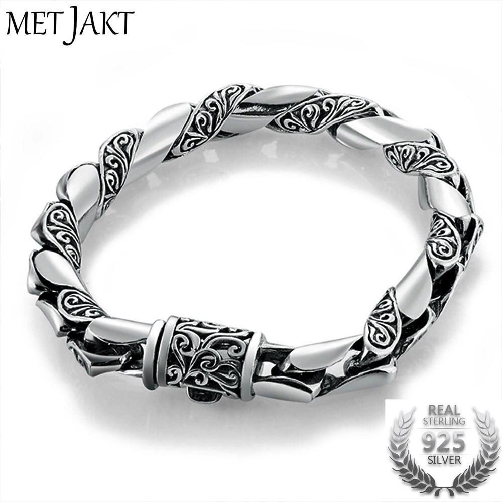 MetJakt Handmade Men's Vintage Thai Silver Bracelet Solid 925 Sterling Silver Bracelet for Male Biker Vintage Jewelry 21cm цена