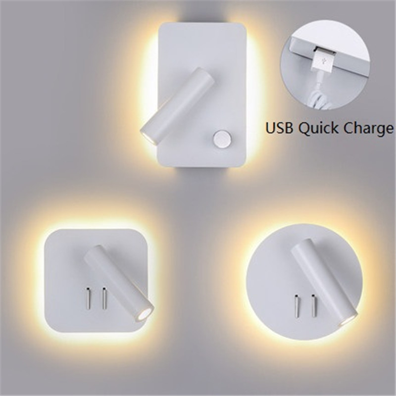 Simple Modern Section Switch LED Wall Light Fixtures Rotating Bedside Wall Lamp USB Charging Creative Wall Sconce Home Lighting