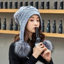 Kagenmo New Year Gift Winter Cap Women Wool Long Ear Protection Casual Stroll Winter Hat