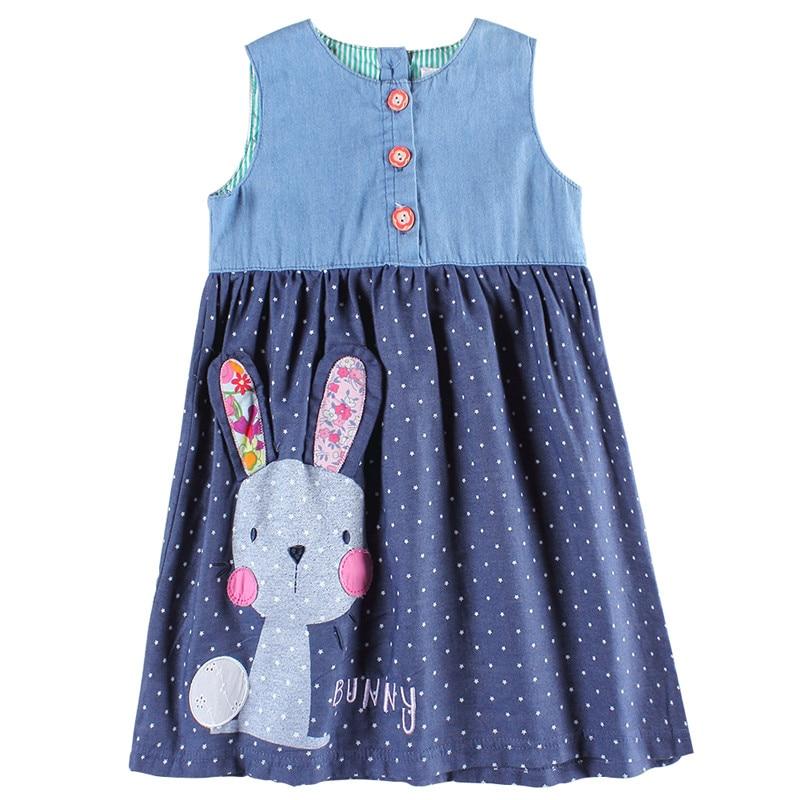 Girls party dresses nova kids jeans clothes fashion rabbit baby girls frocks summer hot sell girls dresses children's wear dress
