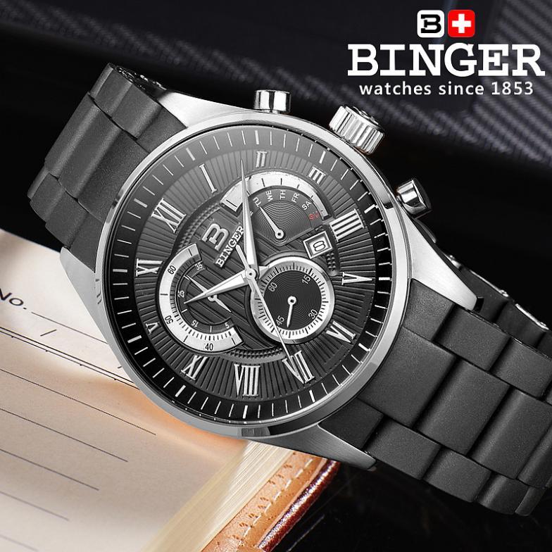 İsveçrə kişilər üçün lüks marka qol saatları BINGER Quartz - Kişi saatları - Fotoqrafiya 5