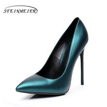 High heels women pumps 12cm sexy fashion single shoes black blue US4.5 party shallow mouth wedding heel shoes