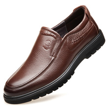 Factory direct sewing thread and totem soft leather mens shoes in the breathable thick-soled business casual men